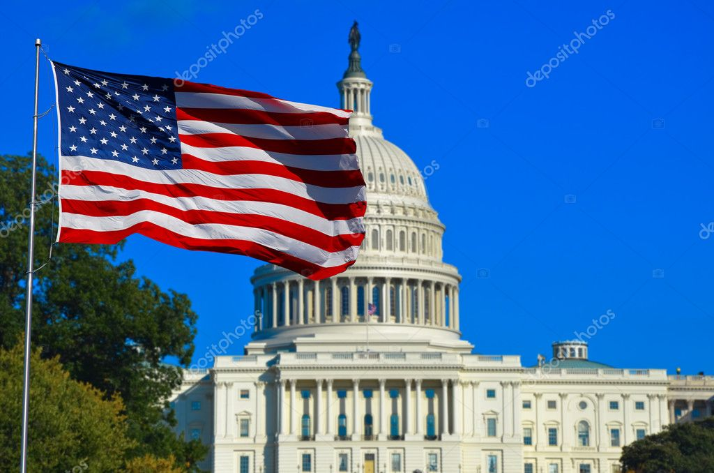 USA Flag and Capitol Building