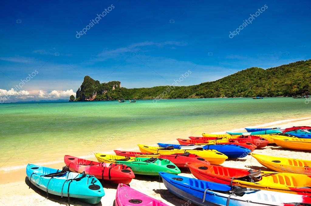 Colored boats on the beach