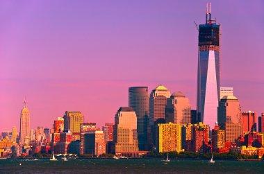 New York City in sunset