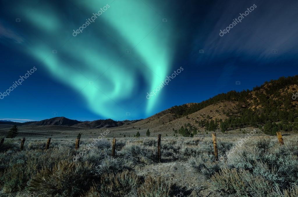 Green northern lights aurora borealis