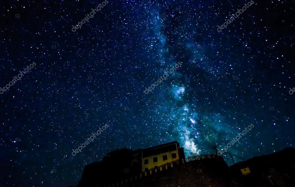Milky way over Key Gompa Tibetan Buddhist monastery