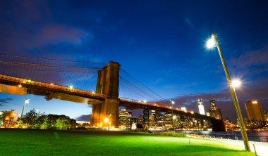 Brooklyn bridge at night in New York city