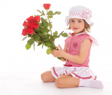 Charming girl with a rose in his hand.
