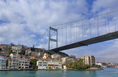Fatih Sultan Mehmet Bridge over Hisarustu neighborhood, Istanbul, Turkey