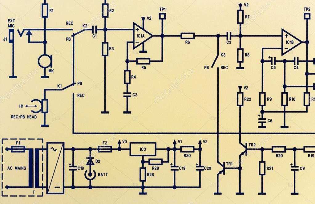 Bestandteil einer elektronischen Schaltplan — Stockfoto © lefpap ...