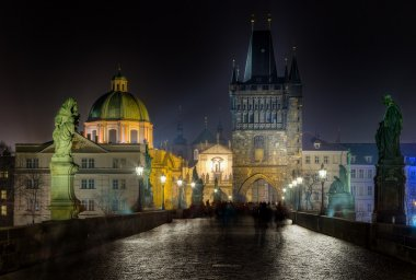 Charles bridge and Tower at night, Prague, Czech Republic
