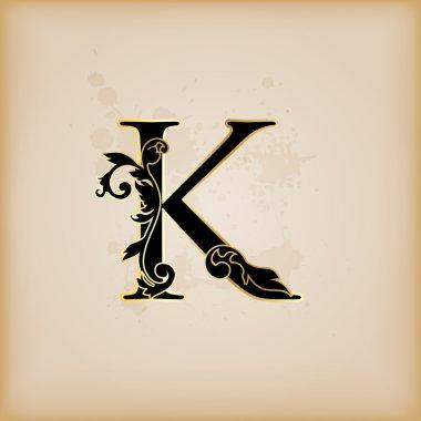 Vintage initials letter k