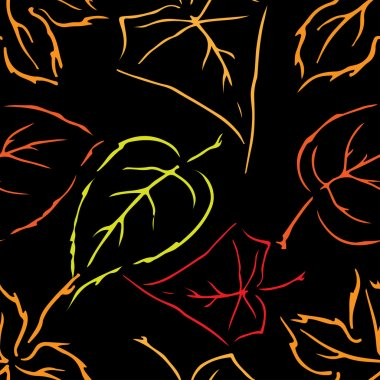 Seamless pattern on leaves theme, Autumn seamless pattern with l