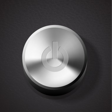 Vector glossy brushed metal silver power button