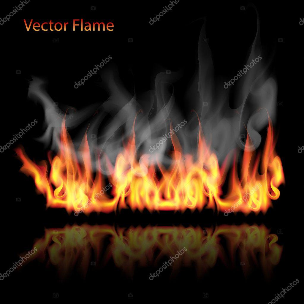 illustration of burning fire flame on black background
