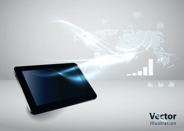 Modern communication technology illustration with tablet and hig