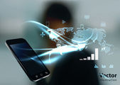 Fotografie Modern communication technology illustration with mobile phone a