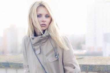 Fashion girl urban style portrait outdoor
