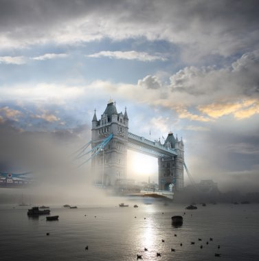 Tower Bridge with fog, London, UK
