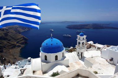 Santorini with flag of Greece, Fira capital town