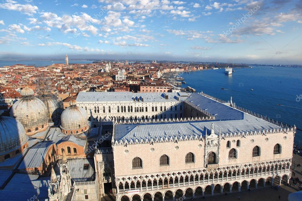 Panorama of Venice with Doges palace in Italy