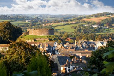 Panorama of Totnes with castle, Devon, England