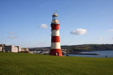 Plymouth with colorful lighthouse in Devon, England