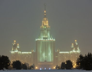 Moscow State University in havy snowfall. Moscow. Russia.