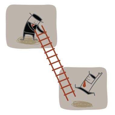 Businessman help another to climb ladder up