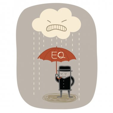 Businessman use EQ umbrella