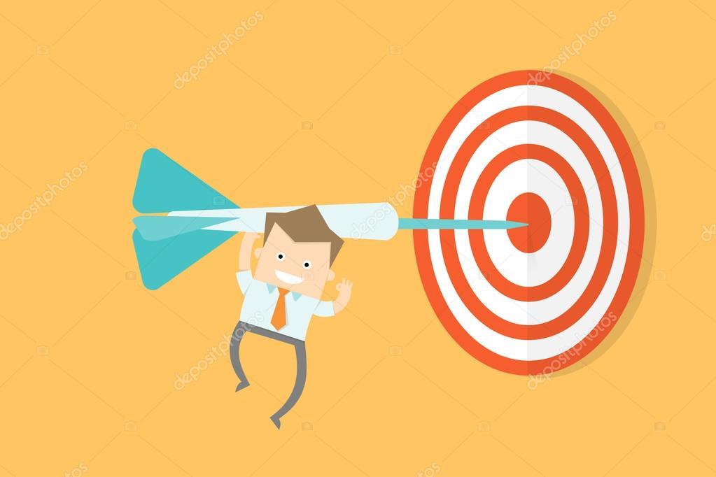 business man get to target goal