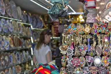 Huge selection of beautiful and affordable Souvenirs for tourists on the shelves of street shops