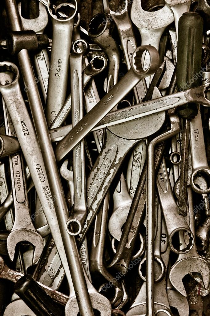 Assorted old hand tools background