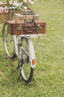 Vintage bicycle with a bag