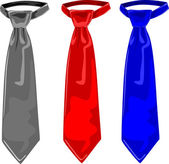 Three colors of ties, grey, red and blue