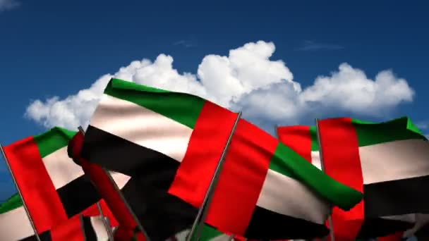 Waving United Arab Emirates Flags
