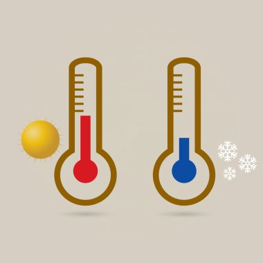 Two thermometers, high and low temperature. Symbolize the heat and cold. Sun and snowflake. clip art vector
