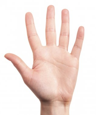 Hand is showing five fingers isolated