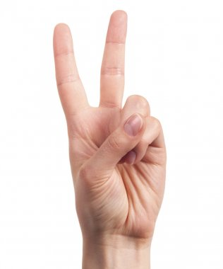 Hand showing the sign of victory and peace