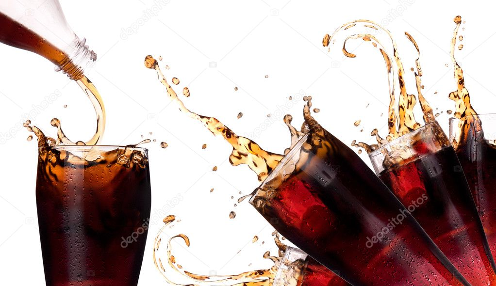 Fresh coke background with splash