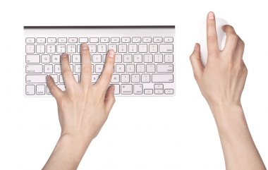 Hand and Computer keyboard, mouse