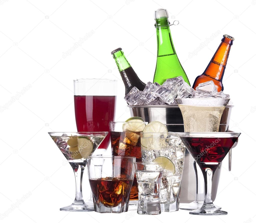 Different images of alcohol set isolated - beer,martini,cola,champagne,wine,whiskey,juice stock vector