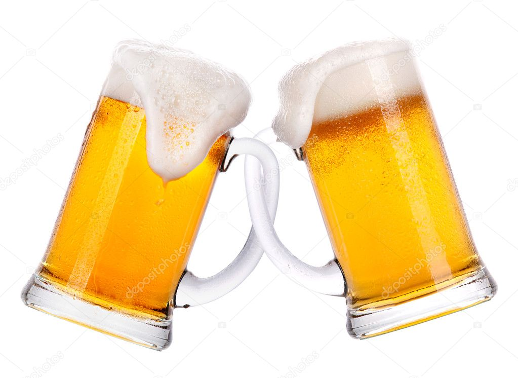 Friendship concept. two glass of light beer isolated
