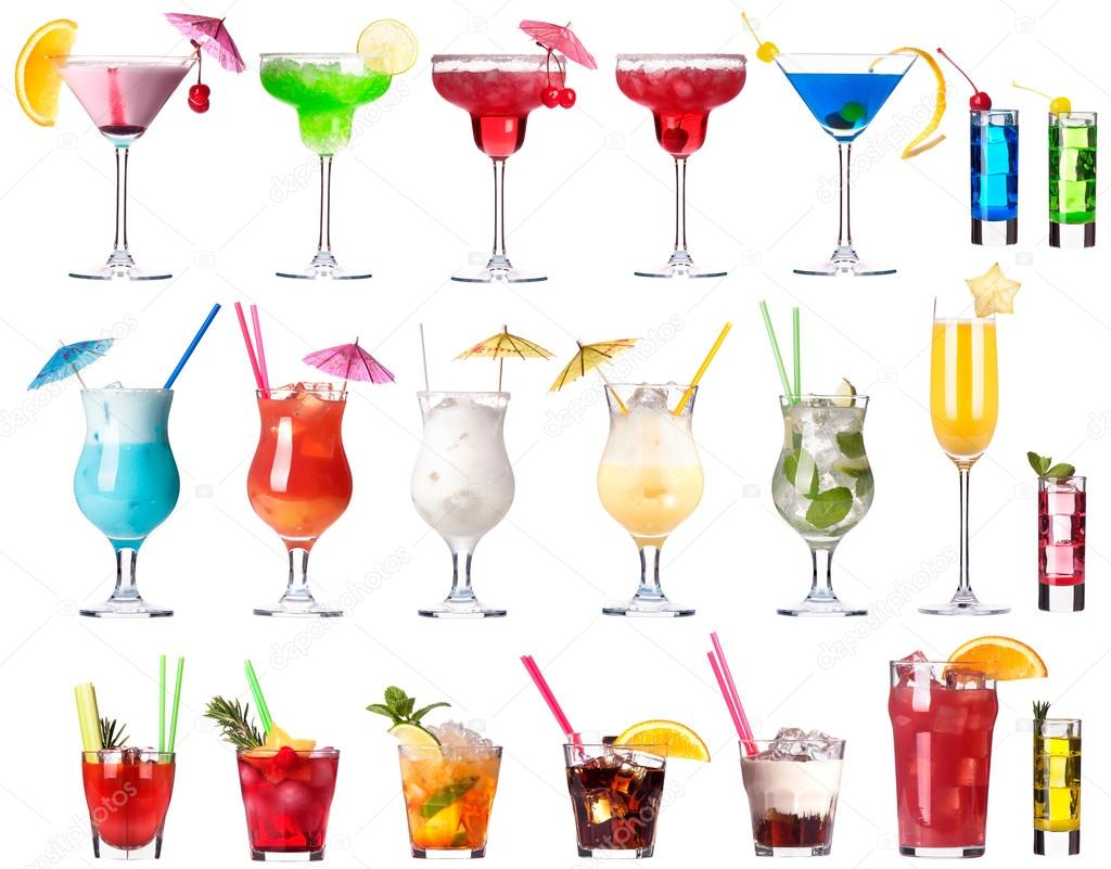 Set of alcoholic cocktails isolated