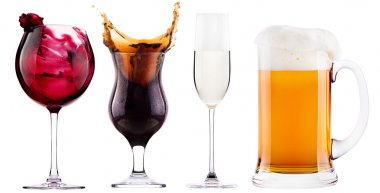 Collection of different images of alcohol isolated