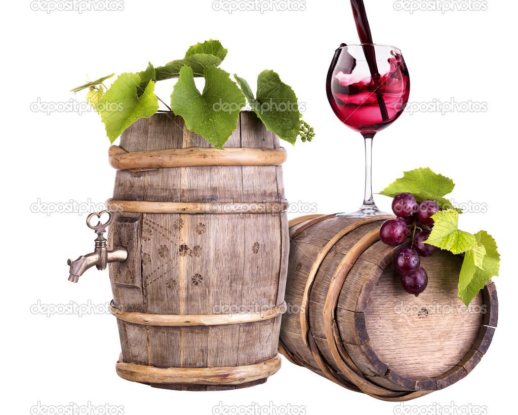 raisins avec verre de vin et tonneau vintage en bois photographie boule1301 26735461. Black Bedroom Furniture Sets. Home Design Ideas