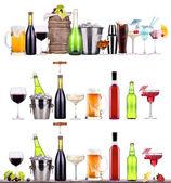 vino rosso, champagne, birra, cocktail alcolici