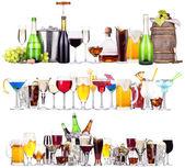 Reihe von verschiedenen alkoholischen Getränken und cocktails