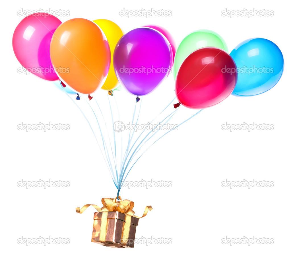 regalo colgando en los globos de color — Fotos de Stock © boule1301 ...