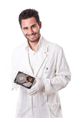 Smiling Technician holding hard disk
