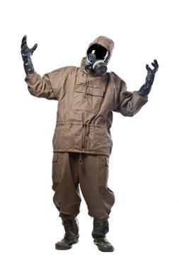 Man in Hazard Suit Cursing