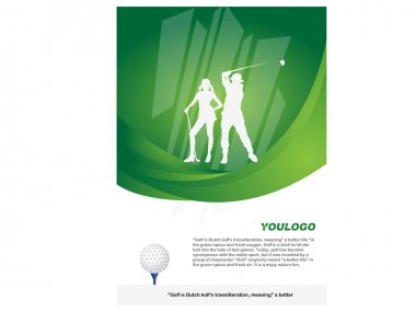 Poster golf tournament poster green-white figures silhouette figures Ads pictures
