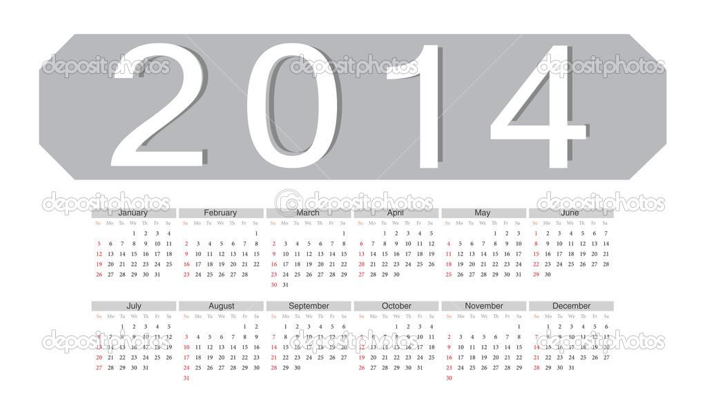 Simple Vector 2014 Calendar Stock Vector C Julvil11 19935089