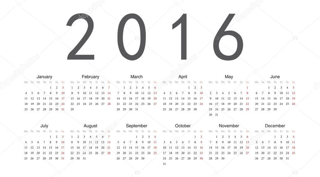 calendrier de vecteur europ en ann e 2016 image vectorielle julvil11 21941409. Black Bedroom Furniture Sets. Home Design Ideas
