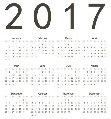Simple european square calendar 2017